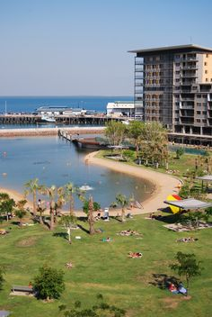 Take a swim at the Lagoon Pool at Darwin's Waterfront. Best Vacation Destinations, Dream Vacations, Darwin Nt, Living In Adelaide, Darwin Australia, Lagoon Pool, Australia Living, Island Resort, Water Features