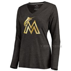 http://www.yjersey.com/miami-marlins-womens-gold-collection-long-sleeve-v-neck-tri-blend-tshirt-black.html MIAMI MARLINS WOMEN'S GOLD COLLECTION LONG SLEEVE V NECK TRI BLEND T-SHIRT BLACKOnly$30.00  Free Shipping!