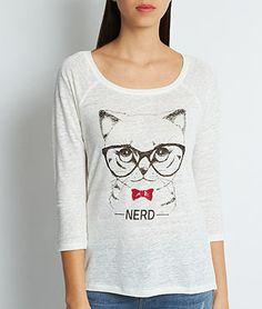 Top en lin imprimé chat à lunettes nerd - NERD - BLANC/NOIR/ROUGE - Etam