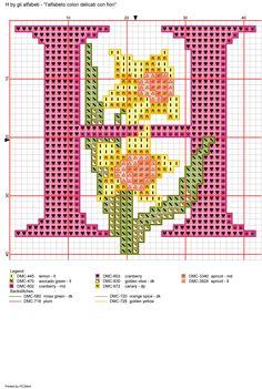 Alfabeto colori delicati con fiori: H
