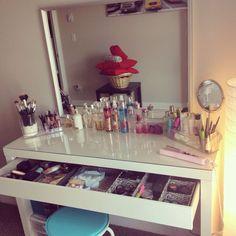 Glass top makeup desk