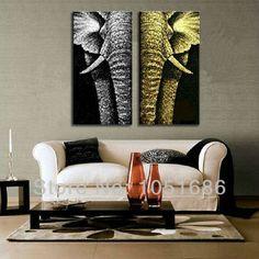 Tienda Online Pintada a mano de dos piezas conjunto Animal Pop Art elefante pintura al óleo decorativa abstracta moderna de la lona foto decoración de la pared arte   Aliexpress móvil