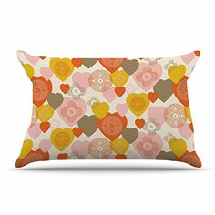 "KESS InHouse Maike Thoma ""Retro Hearts Design"" Orange Pink Standard pillow Case, 30 by 20-Inch, 30"" X 20"""" Kess InHouse http://www.amazon.com/dp/B01A00URCK/ref=cm_sw_r_pi_dp_SBw3wb04ZR9D3"