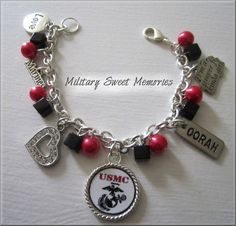 MARINE MINI PENDANT BRACELET  Made by: Military Sweet Memories