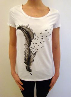 Feather birds women's t shirt by ABeeTees on Etsy, €20.00 birds of a feather t-shirt design birds flying away