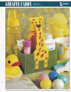Giraffe-Caddy-Annies-Plastic-Canvas-Pattern-Leaflet-PLCX40605-Baby-Shower-Gift