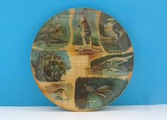 "Vintage Bamboo Serving Tray Round 11"" Australian Animals 50s 60s Vintage Wear, Retro Vintage, Vintage Items, Campervan Accessories, Australian Animals, Sale Items, Bamboo, Tray"