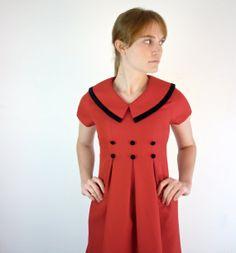 Nautical Dress  Sailor Dress  1980s Red Dress by jessjamesjake, $40.00