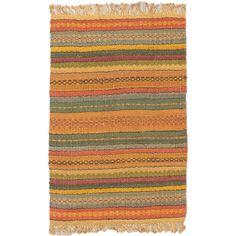 Ecarpetgallery Palas Camel Green Jute Stripe patterns Kilim Rectangular (4'0 x 6'0)