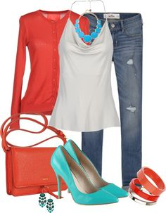 """Turquoise with Coral"" by averbeek on Polyvore"