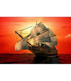 A very artistic and colorful painting of old time Ship on CANVAS With FRAME-Size -71x46 CM