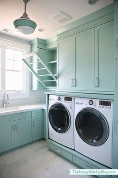 Sunny Side Up - laundry/mud rooms - Benjamin Moore - Wythe Blue - cabinets benjamin moore wythe blue, turquoise cabinets, cabinet shelves, turquoise cabinet shelves, cabinet shelves without door, white