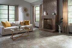 Costa Bella Grigio Porcelain Tile - 20 x 20 - 912102638 Fireplace Gallery, Fireplace Design, Ceramic Floor Tiles, Porcelain Tile, Contemporary Decor, Modern Decor, Stone Look Tile, Floor Decor, Living Room Inspiration