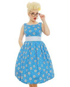 'Lana' Blue Westie Print Swing Dress - Swing Dresses - Shop by Shape - Dresses