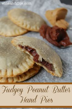 Fudgey Peanut Butter Hand Pies that are only four ingredients and take super delicious! (Hand pies = hold with one hand and eat, leaving the other hand free for your book! Just Desserts, Delicious Desserts, Yummy Food, Dessert Healthy, Healthy Foods, Healthy Eating, Hand Pies, Pie Dessert, Dessert Recipes