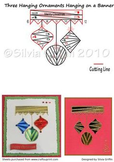 Three Ornaments Hanging on a Banner on Craftsuprint - Add To Basket!