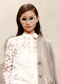 This white lace button-up is going to have a major moment this spring | Banana Republic Spring '16 NYFW Presentation