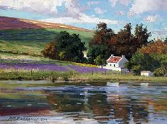 Roelof Rossouw Cottage and dam Watercolor Landscape, Landscape Art, Landscape Paintings, Landscapes, Oil Paintings, Amazing Drawings, Amazing Art, South African Artists, Africa Art