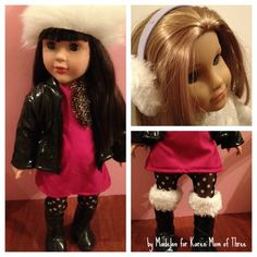 Karen Mom of Three's Craft Blog: How to Make Madelons Doll Ear Muffs, hat and fur lined boots!