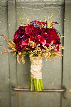 Rustic red wedding bouquet
