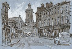 Blandford Forum, Dorset, drawing, pen and ink Rob Adams, Louvre, Ink, Cats, Drawings, Places, Illustration, Cityscapes, Painting