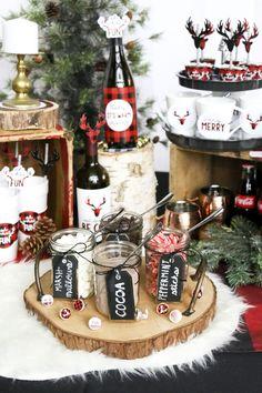 Prancing Plaid Holiday Theme - Rustic Hot Cocoa Bar – Buffalo Plaid Christmas Party