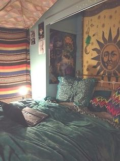 like the south western styled blanket, love the sun tapestry, like the patterned pillows