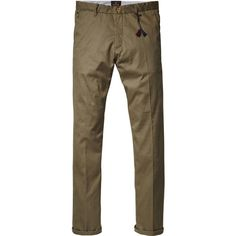 Scotch & Soda Selvedge Chino Pants (395 BRL) ❤ liked on Polyvore featuring mens, men's clothing, men's pants, men's casual pants and army
