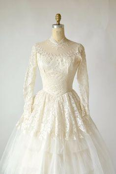 1950s Tea Length Wedding Dress Vintage by DalenaVintage