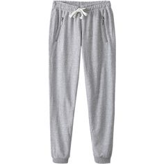 Gray Loose Zipper String Ladies Cool Fashion Leisure Pants ($16) ❤ liked on Polyvore featuring pants, bottoms, sweatpants, jeans and grey