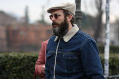 Sherling lined Levi's denim jacket, flatcap and earring