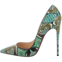 Pre-owned Christian Louboutin So Kate Python Inferno 120 Pumps ($980) ❤ liked on Polyvore featuring shoes, pumps, blue, snake print pumps, christian louboutin pumps, blue shoes, colorful pumps and blue pumps