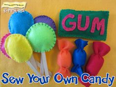 Easy Tutorial and great for your home daycare pretend store. Sewing For Kids, Diy For Kids, Crafts For Kids, Candy Theme Birthday Party, Kids Daycare, Daycare Rooms, Felt Food, Play Food, Candy Store