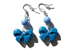 Blue Clay Bow Earrings  from Mizziexoxo Boutique $6.50