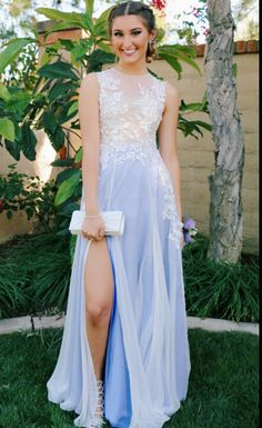 Prom Dress With Slit Evening Party Gown pst0893