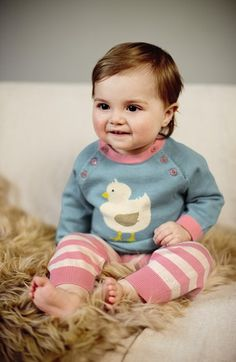 Such a cute little duck print on this Mini Boden knit sweater and pants set.
