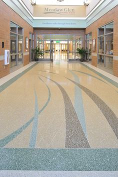terrazzo flooring Beautiful terrazzo floor created with Arim-Inc aggregates at Meadow Glen Elementary School in South Carolina Engineered Stone, Terrazzo Flooring, Floor Patterns, Floor Design, South Carolina, Elementary Schools, Concrete, New Homes, Mansions