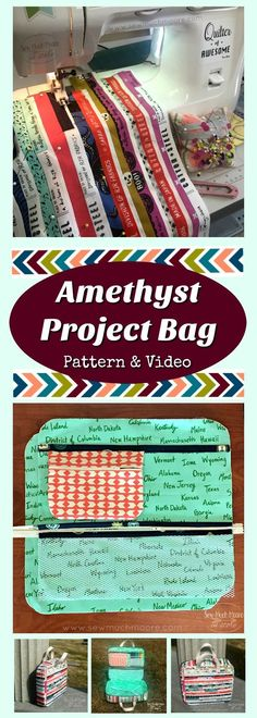 Using my fabric selvage stash and some other treasured fabrics, I created my very own Amethyst Project Bag! Check out the details and get your own pattern! There is even a step-by-step instruction video available! I plan to use my Amethyst Project Bag Sewing Patterns For Kids, Easy Sewing Projects, Sewing Projects For Beginners, Sewing Hacks, Sewing Ideas, Sewing Diy, Bag Patterns, Quilting Tutorials, Sewing Tutorials