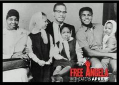 Malcolm X with wife, Betty Shabazz and kids, alongside with  Ali