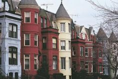 A Look at Queen Anne Architecture in America: Queen Anne Style Row houses with…