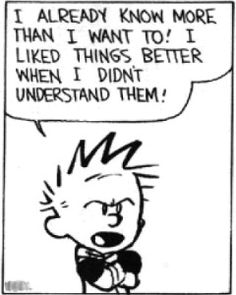 I already know more than I want to! I liked things better when I didn't understand them! Ignorance is bliss, Calvin. Ignorance is bliss.