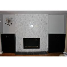 Brick Pattern In Polished Grey Stone Tile Fireplace Surround Https Www