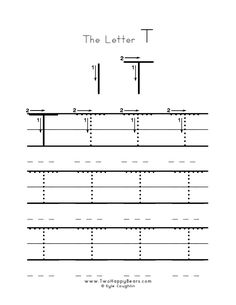 Practice worksheet for writing the letter T, upper case, with several connect the dots examples to trace, in free printable PDF format. Free Printable Alphabet Worksheets, Free Printables, To Trace, Connect The Dots, Letter T, Preschool Activities, Coloring Pages, Homeschool, Pdf