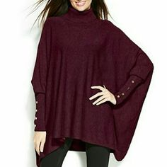 Alfani Poncho Turtleneck Sweater Wine colored turtleneck - worn a couple of times, like new Alfani Sweaters Shrugs & Ponchos