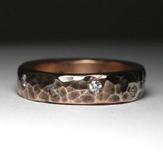 Rustic Copper And Diamond Band by Austin Moore