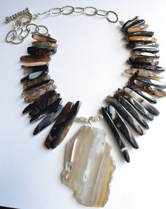 The Indra Black and Gray Agate Statement by danaleblancdesigns