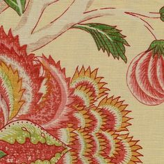 Indienne Linen Fabric Printed linen in green and coral, archive print