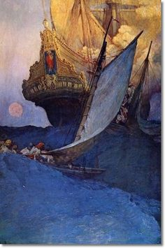 The Fate of a Treasure Town - An Attack on a Galleon  Howard Pyle