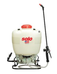 Solo 475-B Professional Diaphragm Pump Backpack Sprayer, 4-Gallon  Easily and effectively handles disinfectants, bleach solutions, fertilizers, herbicides, pesticides and formulations for tree, shrub and plant protection. High-performance diaphragm pump for use with wettable powders, liquid and bleach solutions. Passes small abrasive particles without damage to the pump assembly. Produces...