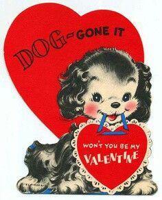 Vintage valentine card, classic, retro, puppy hearts